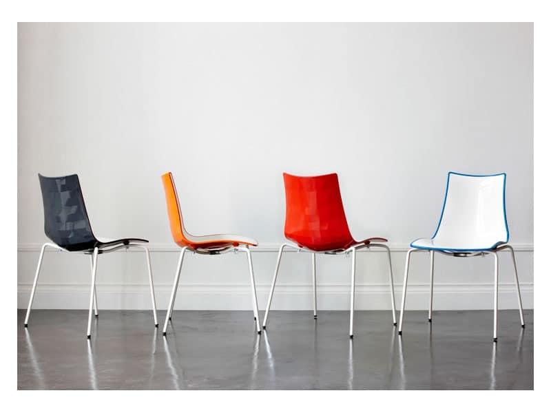 Zweifarbiges plastikstuhl mit stahlstruktur idfdesign for Design plastikstuhl