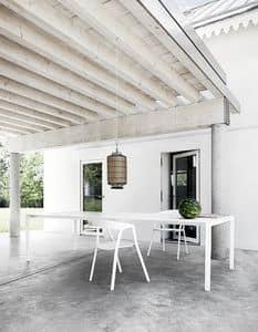 Thin-k Outdoor, Design Tisch in Aluminium für den Vertrag und inländischen Gebrauch