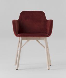 ART. 0037-LE-CB-UPH BARDOT, Gepolsterter Sessel mit Holzsockel