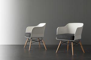 Art. 026 Nordika, Kleiner Sessel mit weißem Polypropylen Sitz und Rückenlehne