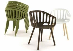 Basket, Moderne stapelbare Sessel, abdeckbar, für den Außenbereich