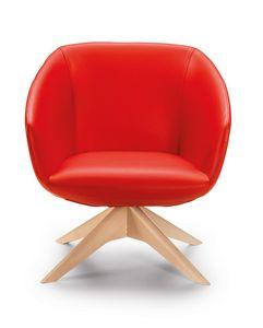 Brema PL, Sessel mit Leder bezogen, Beine aus Massivholz