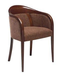 C26, Sessel mit Armlehnen aus Buchenholz, gepolsterter Sitz und Rücken, mit Stoff bezogen, für den Objektbereich