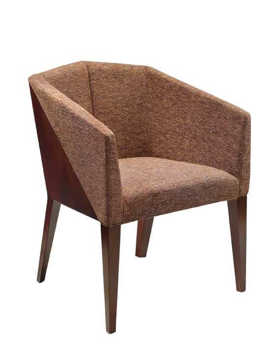 C36, Sessel mit Armlehnen aus Buchenholz, gepolsterter Sitz und Rücken, mit Stoff bezogen, für den Objektbereich