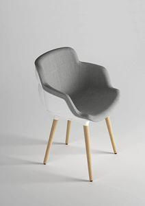 Choppy Sleek BL, Gepolsterter Sessel mit Holzbeinen