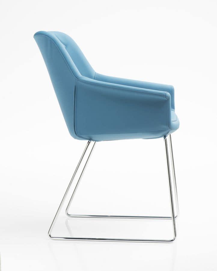 Dama Kufen, Gepolsterte Sessel für Büro, Schlitten Stahlbasis