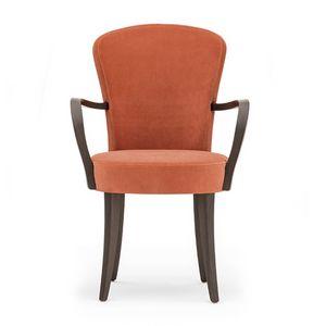 Euforia 00121, Sessel aus Massivholz, Sitz und Rücken gepolstert, Stoff, moderner Stil