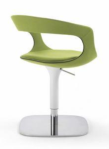 Frenchkiss Drehsessel 10.0406, Kleiner Sessel in der Höhe verstellbar, mit eleganter Basis