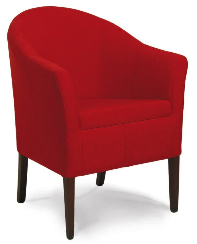 Minorca, Gepolsterte Wanne Stuhl, in Holz, für das Wohnzimmer