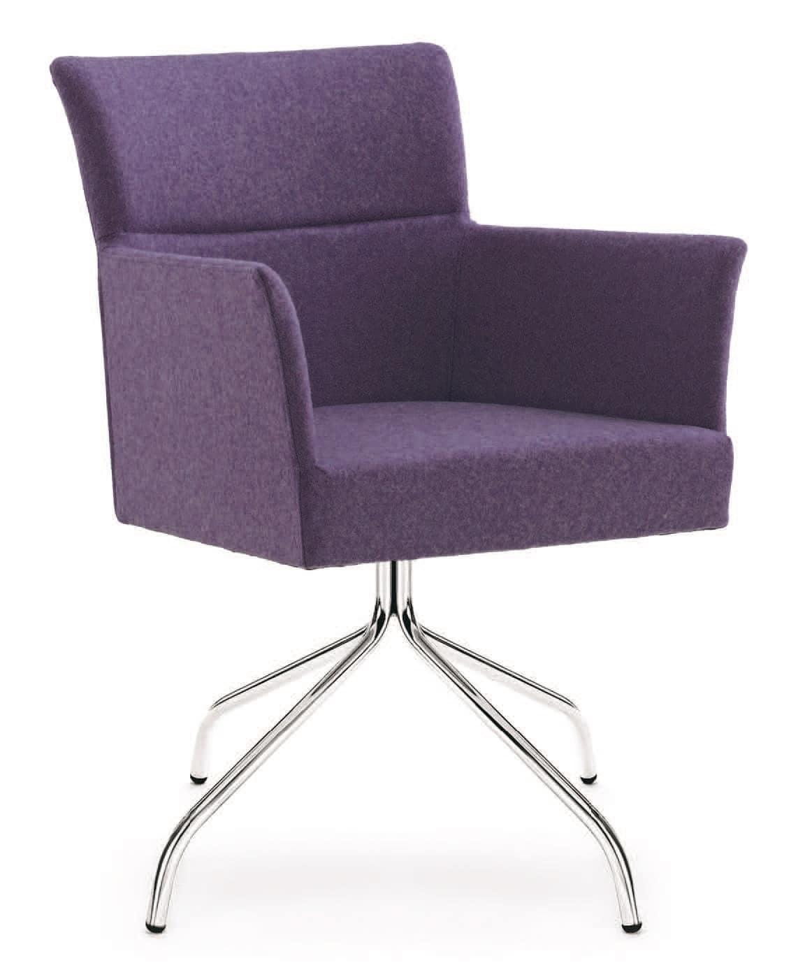 PL 5007, Sessel mit Gestell aus verchromtem Stahl, in verschiedenen Farben