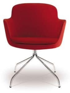 PL 5009, Sessel mit poliertem Chromstahl Sockel, für Büros