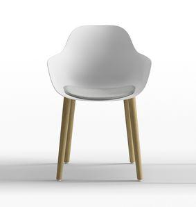 Pola Round P_4W, Design Stuhl aus Polypropylen mit Holzbeinen