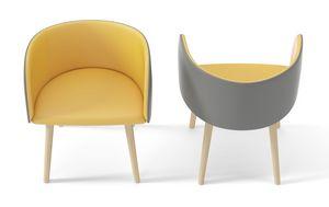 ROUND, Sessel mit Holzbeinen
