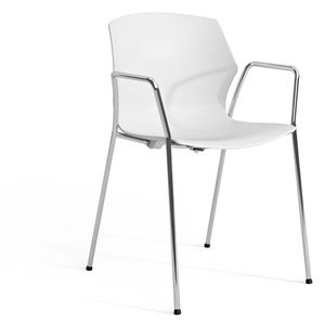 SALLY P, Sessel mit Kunststoffschale und verchromten Armlehnen