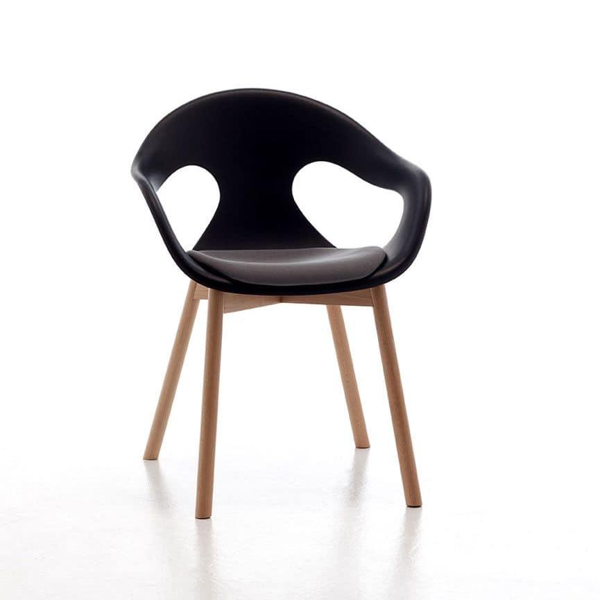 Sunny plastic 4LW, Sessel mit Holzbeinen, Polypropylen Sitz und Rückenlehne