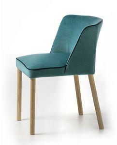 Virginia 4WL, Gepolsterter kleiner Sessel mit Holzbeinen