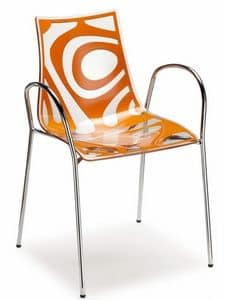 Wave Stuhl mit Armlehnen, Stapelbarer Design-Sessel aus Metall und Technopolymer
