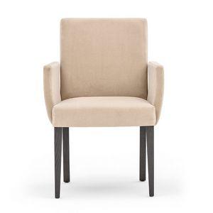 Zenith 01631, Sessel mit Armlehnen mit Holzrahmen, gepolsterter Sitz und Rücken, für den Objektbereich