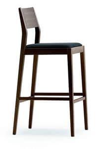 1107, Hocker aus Holz mit gepolstertem Sitz, für Küche