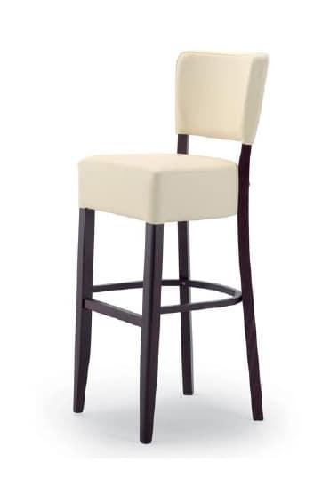 303, Hocker aus Holz mit gepolstertem Sitz und Rückenlehne