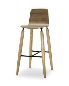 CG 938076 SG, Moderner Holzhocker für Bar und Küche