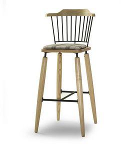 CG 958085 SG, Hocker aus Holz mit gepolstertem Sitz