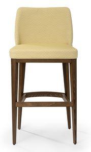 Katel stool B, Gepolsterter Hocker mit hoher Rückenlehne
