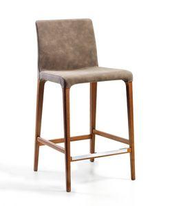 Marostica Barhocker, Moderner Hocker mit Beinen aus Eschenholz