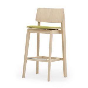 Offset 02882, Massivholzhocker, Sitz gepolstert, moderner Stil
