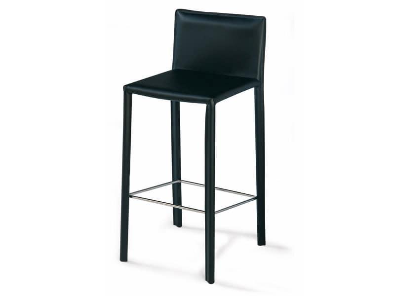 SG 620, Moderne Stuhl aus Leder, Fußstütze aus Stahl, für Hotels