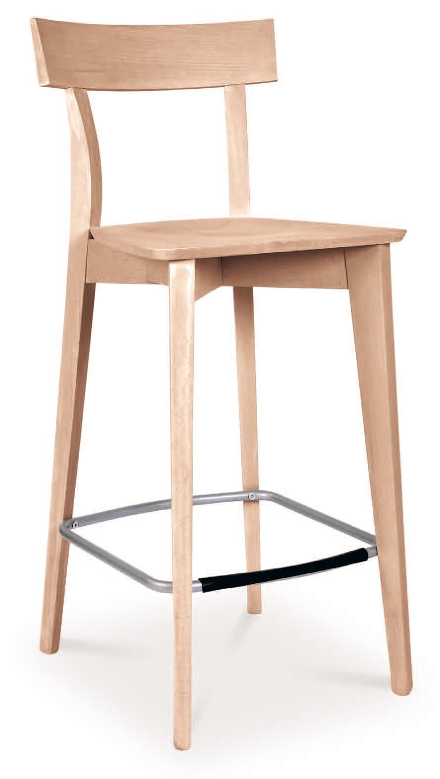 SG 646, Stuhl ganz aus Holz, mit Stahl Fußstütze aus