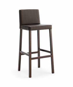 SG. RELAX, Holzhocker mit gepolstertem Sitz und Rückenlehne