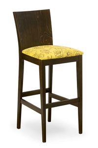 Sirio stool, Hocker aus Holz mit gepolstertem Sitz