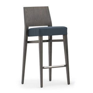 Timberly 01781, Stapelbar Barhocker mit Massivholzrahmen, gepolsterter Sitz, Stoffbezug, Fußstütze aus Stahl, für den Objektbereich