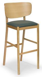Viky stool, Holzhocker mit gebogenem Rücken