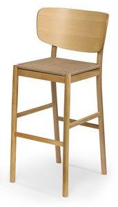 Viky straw stool, Hocker aus Holz mit Strohhalm