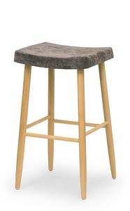 Web stool high, Holzbartool ohne Rückenlehne