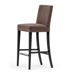 Zenith 01681 - 01691, Barhocker aus Massivholz, Sitz und Rücken gepolstert, Stoffbezug, Fußstütze aus Stahl, für den Objektbereich