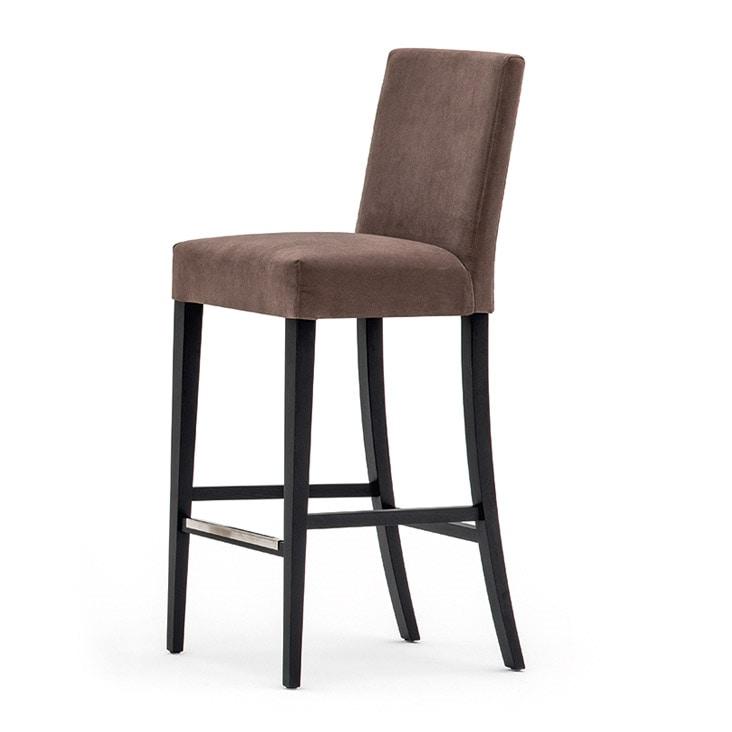 Zenith 01681, Barhocker aus Massivholz, Sitz und Rücken gepolstert, Stoffbezug, Fußstütze aus Stahl, für den Objektbereich