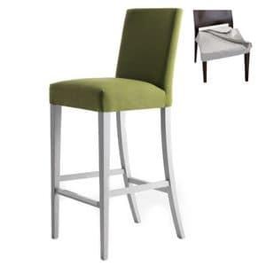 Zenith 01686 - 01696, Barhocker aus Massivholz, Sitz und Rücken gepolstert, abnehmbarer Stoffbezug, Fußstütze in Edelstahl, für den Objektbereich
