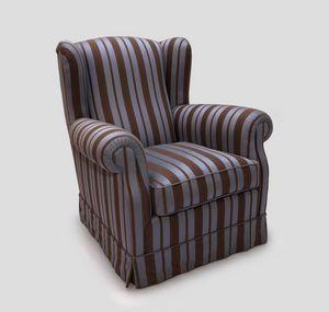Bergere, Sessel mit Rock mit Stoffbezug