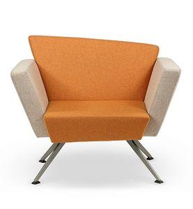 CORNER C1B, Platz Sessel, vier Beine aus Metall, für Wohnzimmer