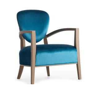 Cammeo 02641, Massivholz Sessel, Sitz und Rücken gepolstert, Stoffbezug, moderner Stil
