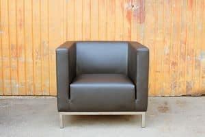 Casale, Moderner Sessel mit Stahlbeinen, für Hotels