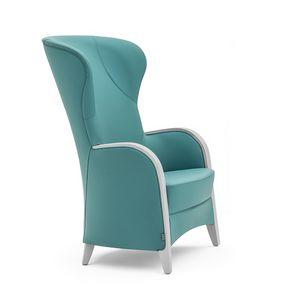 Euforia 00143, Sessel aus Massivholz, Sitz und Rücken gepolstert, Armlehnen aus Holz, moderner Stil
