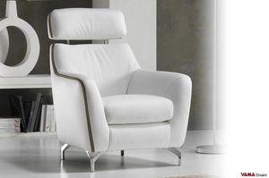 Ginger, Moderner Sessel mit verstellbarer Rückenlehne und Stahlfüßen