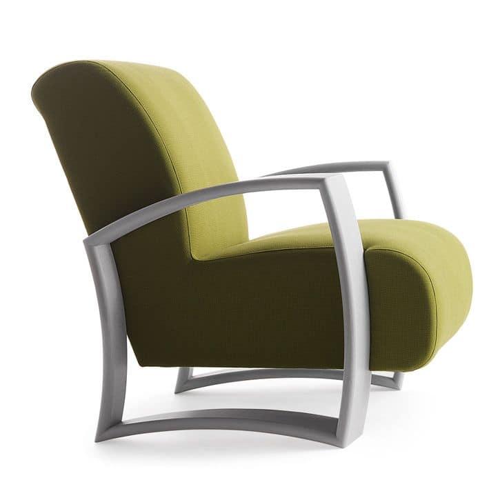 Harmony 01241, Sessel mit Holzrahmen, Sitz und Rücken gepolstert, Stoffbezug, moderner Stil