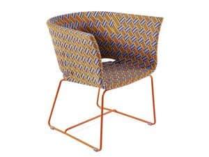 Kente Sessel, Sessel aus farbigem Metall, mehrfarbig gewebt