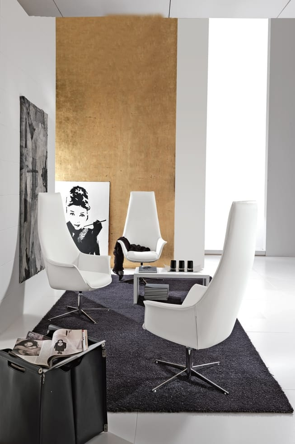 Kimera Relax, Schwenken getuftete Sessel mit verchromtem Metall
