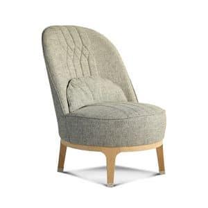 Lawrence poltrona, Moderne Sessel aus Stoff, mit hoher Rückenlehne
